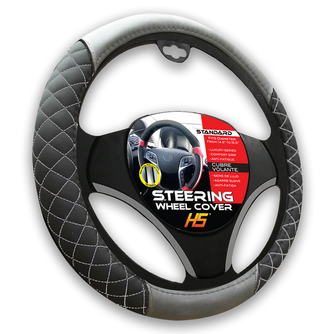 Steering Wheel Cover Diamond Style In Black / Grey Stitching With Comfort Grip