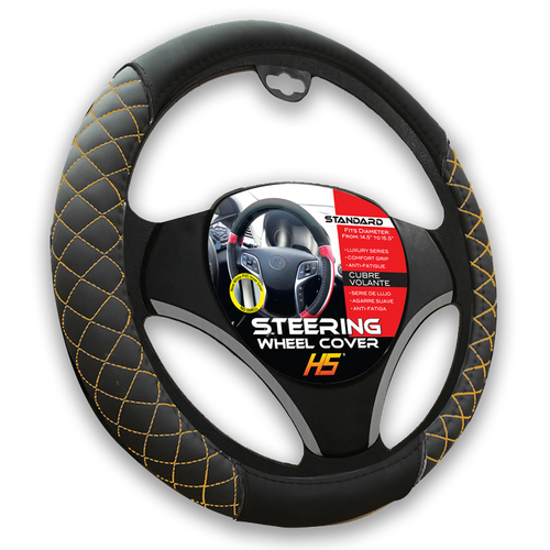 Steering Wheel Cover Diamond Style In Black / Tan Stitching With Comfort Grip