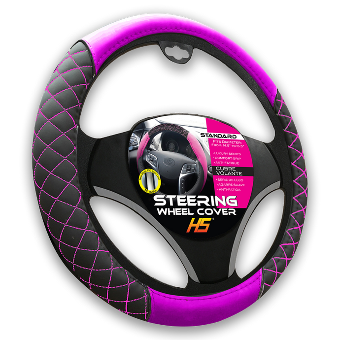 Steering Wheel Cover Diamond Style In Black / Pink Stitching With Comfort Grip