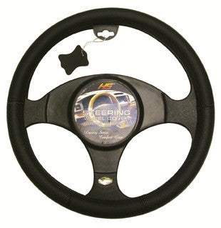 Leather Steering Wheel Cover Black/Black Holes