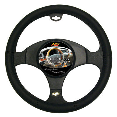 Steering Wheel Cover Black / Black Holes / Black Stiching 14