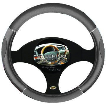 Steering Wheel Cover Grey / Chrome / Grey