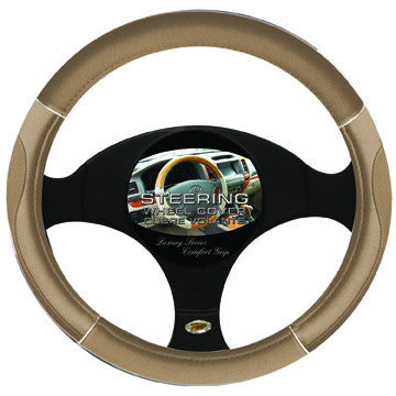 Steering Wheel Cover Tan / Chrome / Tan
