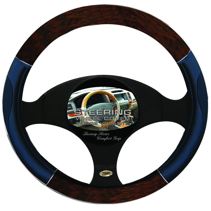 Steering Wheel Cover Wood / Chrome / Black