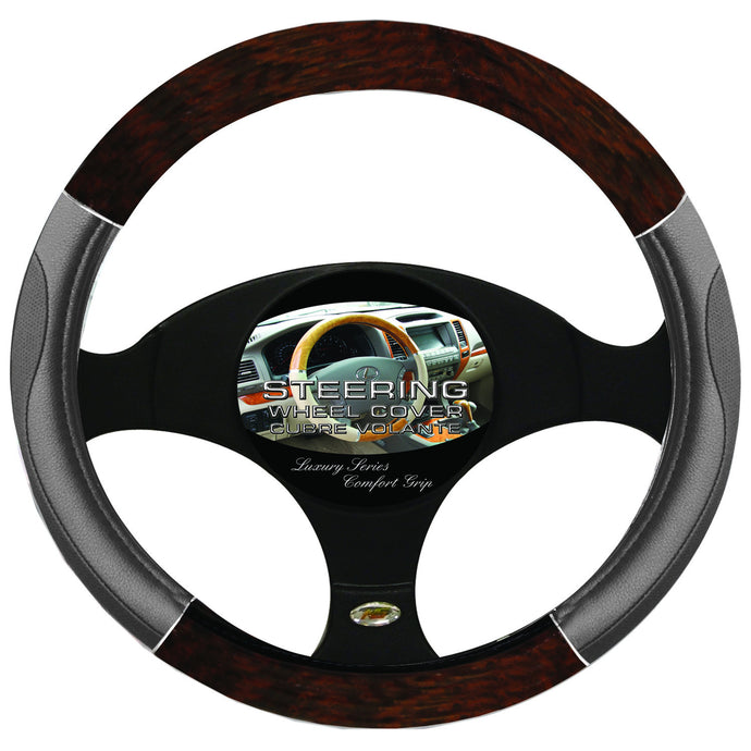 Steering Wheel Cover Woodgrain / Chrome / Grey