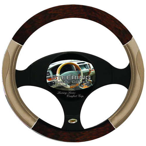 Steering Wheel Cover Woodgrain / Chrome / Tan