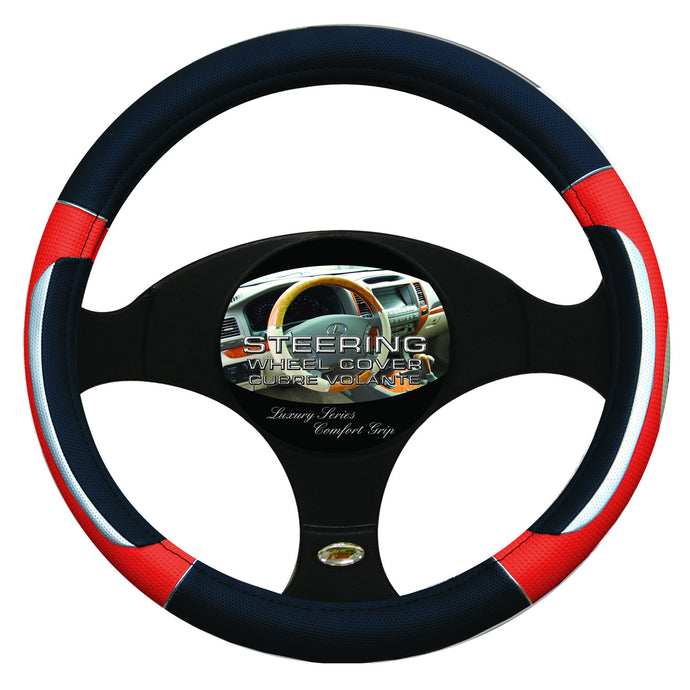 Steering Wheel Cover Black / Silver / Red