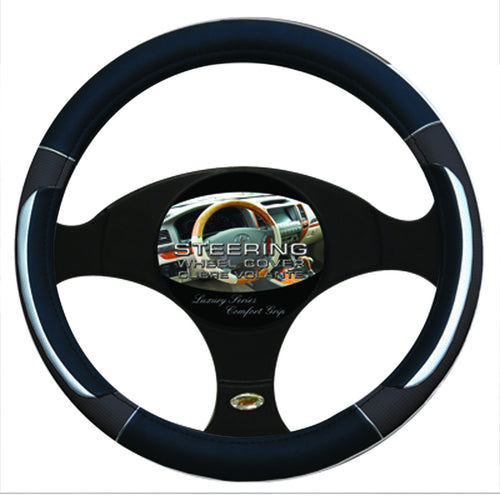 Steering Wheel Cover Black / Silver / Grey