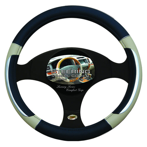 Steering Wheel Cover Black / Silver / Tan