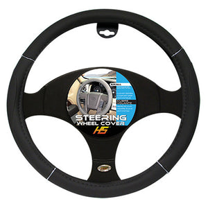 "Steering Wheel Cover Black / Chrome / Black 13.5""to 14.5"" Smaller Steering Wheel Covers"