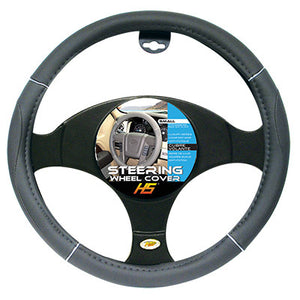 "Steering Wheel Cover Grey / Chrome / Grey 13.5""to 14.5"" Smaller Steering Wheel Covers"