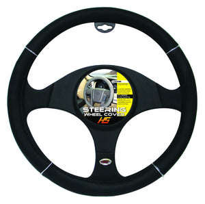 "Steering Wheel Cover Black / Chrome / Black 15""to 16"" Larger Steering Wheel Covers"