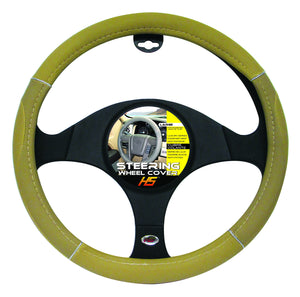 "Steering Wheel Cover Tan / Chrome / Tan 15""to 16"" Larger Steering Wheel Covers"