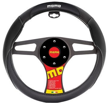 Momo Steering Wheel Cover Black/Black/White