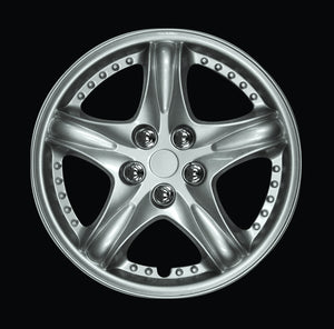 "Set Of 4 14"" Silver Lacquer Wheel Covers"