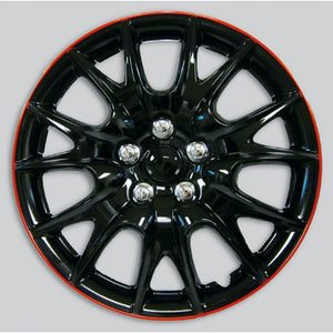 "Set Of 4 Black/Red 15"" Inch Wheel Covers"
