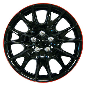 "Set Of 4 Black/Red 13"" Inch Wheel Covers"