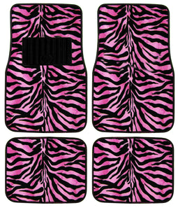 Floor Mats Front And Back Zebra Car Truck (Black/Pink) 47.332