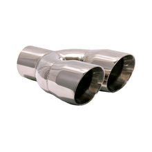 "Load image into Gallery viewer, Exhaust Muffler Tip Dual Round Straight Cut Tips 10 1/2"" X 3"" X 2 1/2"" ID"