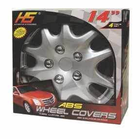 "HS 45.489  Set Of 4 14"" Silver Lacquer Wheel Covers Hub Caps"