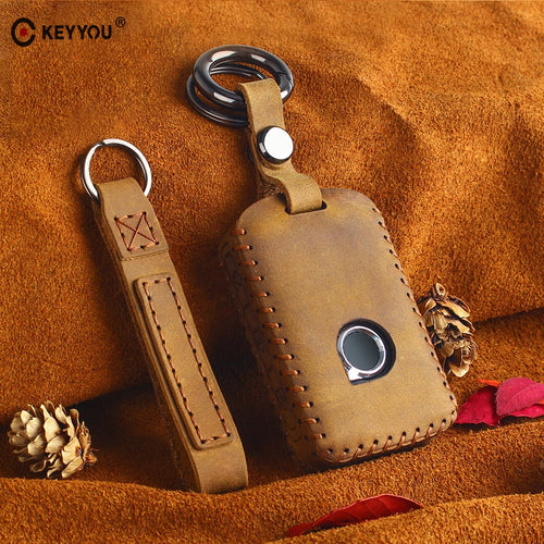 KEYYOU Genuine Leather Smart Car Key Case Cover Bag For VOLVO S90 V90 XC90 XC60 XC40 Key Case Cover For Car Auto Accessories