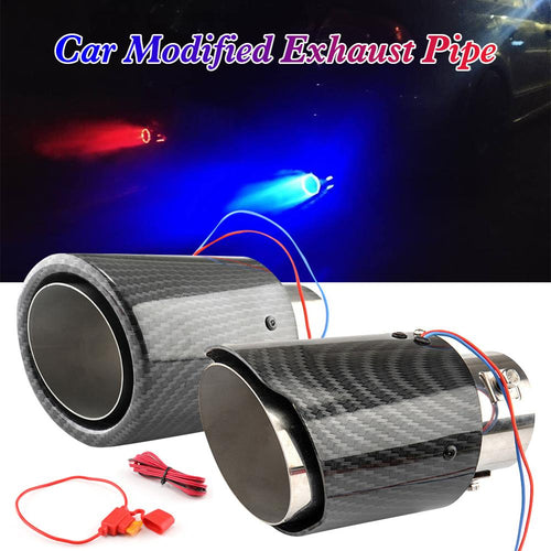 Auto Accessories Universal 63-65mm Inlet Carbon Fiber Color Car Exhaust Muffler Pipe Tip with RED/Blue LED Light Red/Blue Light