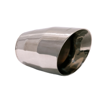 "Load image into Gallery viewer, Exhaust Muffler Tip Round Double Wall Slant Cut Tip 5 1/2"" X 3 1/2"" X 2 1/2"" ID"