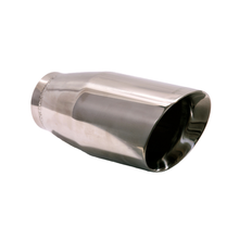 "Load image into Gallery viewer, Exhaust Muffler Tip Round Double Wall Slant Cut Tip 7 1/2"" X 3 1/2"" X 2 1/2"" ID"