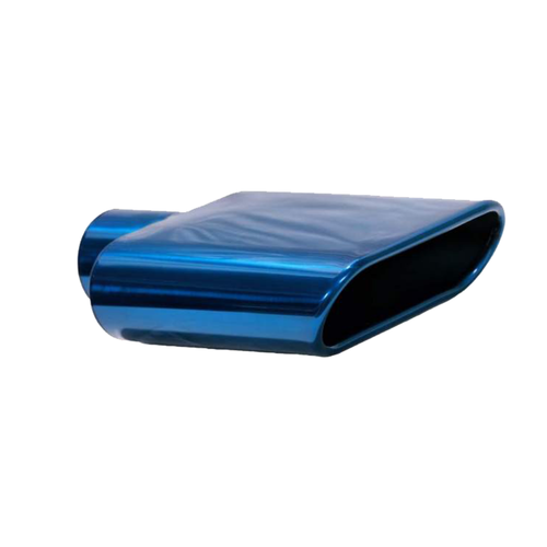 Exhaust Muffler Tip Rolled Edge Oval Cut Chrome Blue Tip 2.5