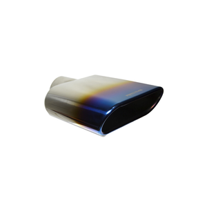 "Exhaust Muffler Tip Rolled Edge Oval Cut Chrome Blue flame Tip 2.5"" In / 6.5"" W x 2.5"" H Out / 8.5"" O.Length"