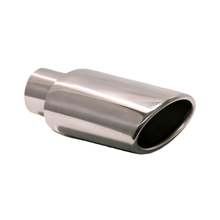 "Load image into Gallery viewer, Exhaust Muffler Tip Rolled Edge Oval Slant Cut Tip 4 3/4"" X 3 1/2"" X 9"" X 2 1/2"" ID"