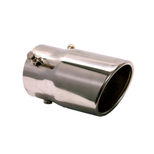 "Load image into Gallery viewer, Exhaust Muffler Tip Round Rolled Edge Bolt-On Slant Cut Tip 4 3/4"" X 2 3/4"" X 2 1/2"" ID"
