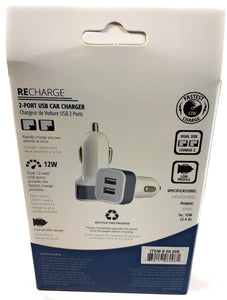 Recharge 2-Port USB Car Charger HS 08.008