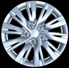 "Set Of 4 14"" Silver Lacquer Wheel Covers Hub Caps"