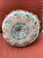 Circular Pillow with Colored Piping