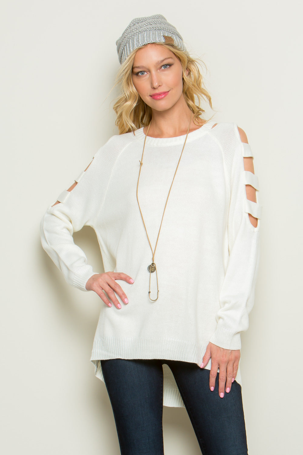 Open Shoulder with Strap Sweater