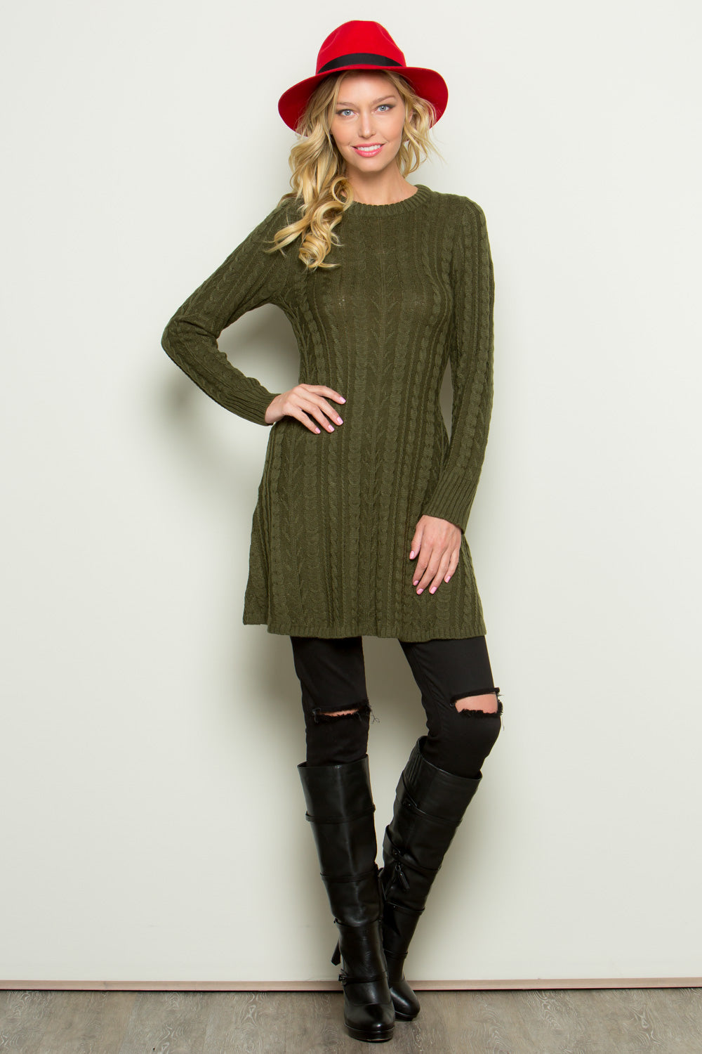 Cable Knit Sweater Tunic