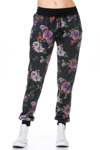 BLACK FLORAL FRENCH TERRY JOGGERS WITH DRAWSTRING CORD