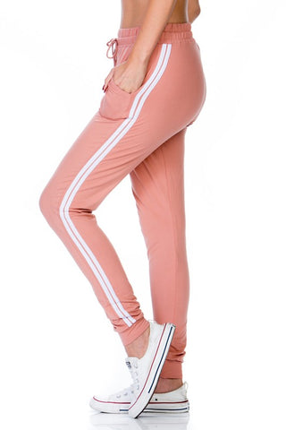 SOLID FULL LENGTH RELAX FIT JOGGER WITH SIDE STRIPE AND POCKETS