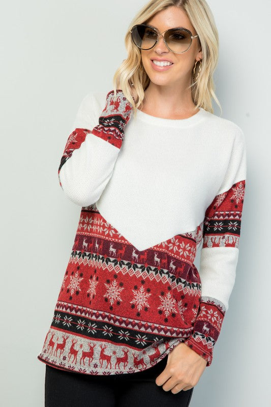 White Winter Print Contrast Solid Knit Fashion Top