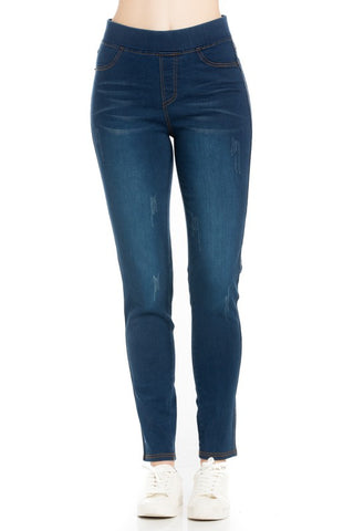 Elasticized Waist Washed Denim Pant (LIGHT DENIM)