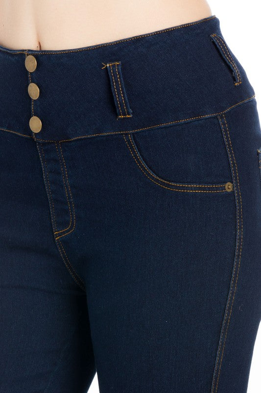 High Waist Three Button Washed Denim Pant