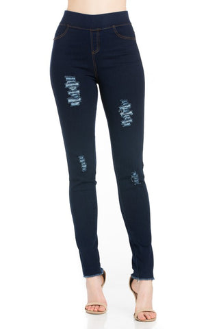 Premium High Waist Denim Jeggings Leggings