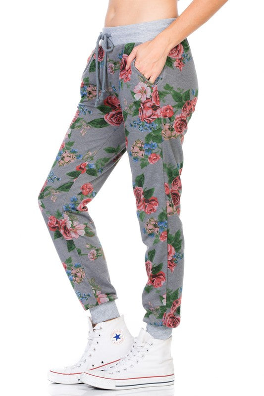 French Terry Joggers with Red Floral Print and Drawstring