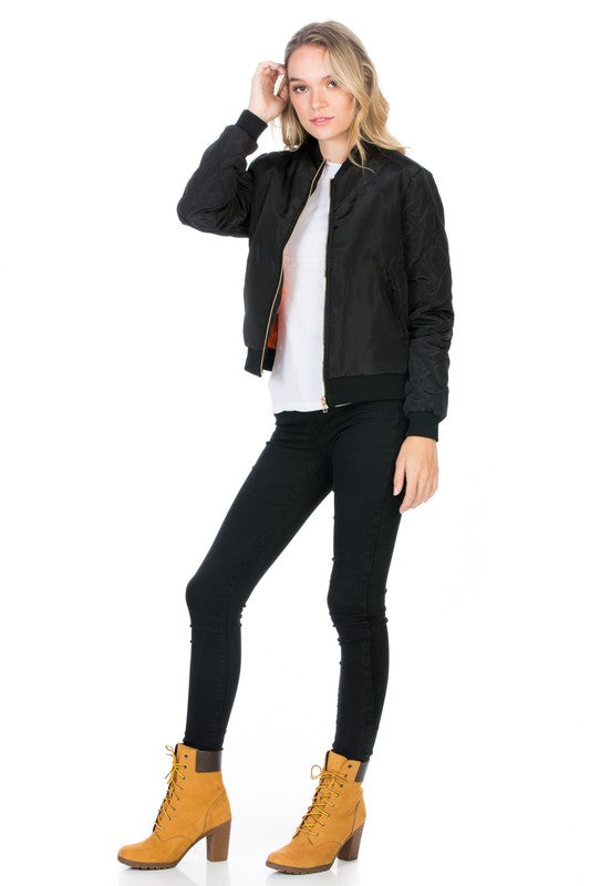 BLACK Classic Quilted Zip Up Bomber Jacket