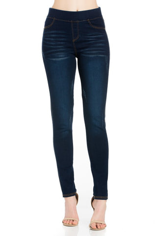 Elasticized Waist Washed Denim Pant