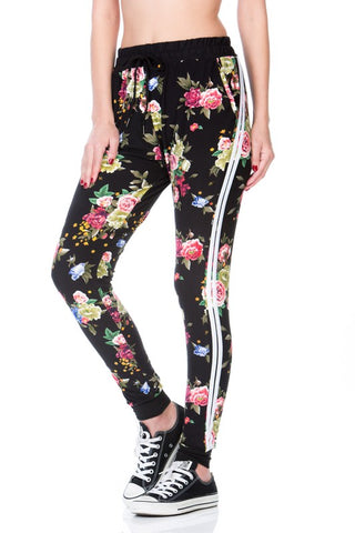 BLACK FLORAL PRINT FULL LENGTH RELAX FIT JOGGER WITH SIDE STRIPE AND POCKETS