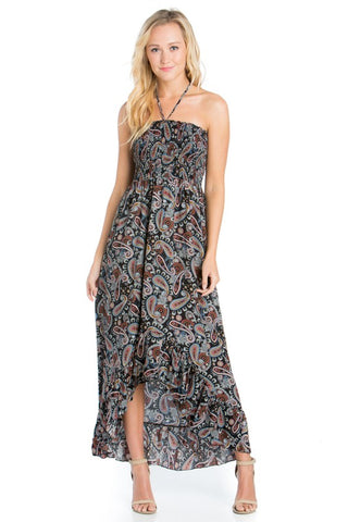 Paisley Print Smoke Tube Maxi Dress