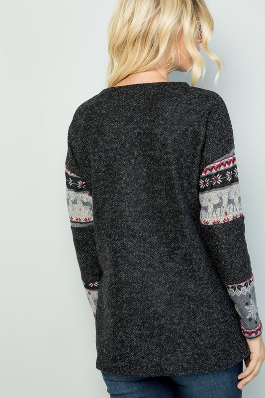 Black Winter Print Contrast Solid Knit Fashion Top