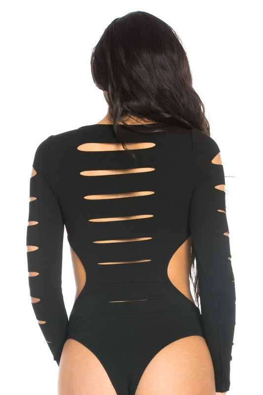 Black Cut ripped bodysuit